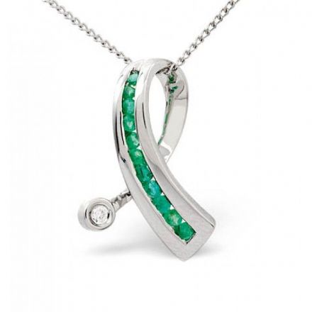 18K White Gold 0.02ct Diamond & 0.22ct Emerald Pendant, P2400